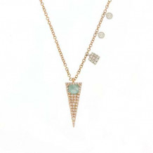 Meira T 14k Rose Gold Diamond and Amazonite Dagger Necklace