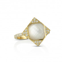 Doves 18k Yellow Gold White Orchid Mother of Pearl and Topaz Ring - R8088WMP