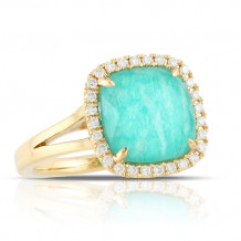18K Yellow Gold Doves Diamond & Amazonite Ring - R6247AZ-1