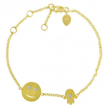 Meira T 14k Yellow Gold Happy Face and Hamsa Bracelet