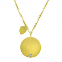 Meira T Yellow Gold and Diamond Engravable Disc Necklace
