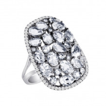 Meira T Silver Cocktail Ring with White Topaz and Diamonds