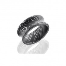 Lashbrook Damascus Steel Camo Concave Wedding Band