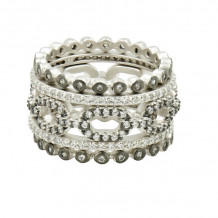 Freida Rothman Platinum Rhodium Plated Sterling Silver Stackable Rings