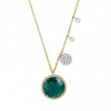 Meira T Yellow Gold and Diamond Rough Emerald Necklace