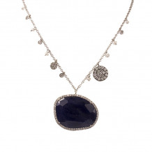 Meira T 14k Black Rhodium Blue Sapphire and Diamond Charm Necklace