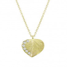 Meita T Yellow Silver Leaf White Sapphire Necklace