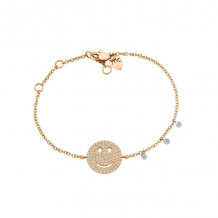 Meira T 14k Rose Gold Diamond Happy Face Bracelet
