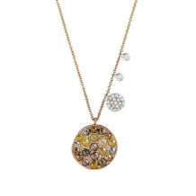 Meira T 14k Rose Gold Rough Diamond Wave Disc Necklace