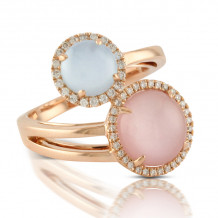 Doves 18k Rose Gold Bella Rosa Mother of Pearl and Topaz Ring - R6279BPMP