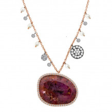 Meira T Two Tone 14k Gold Rough Ruby and Diamond Necklace