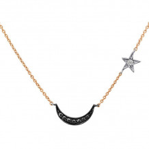 Meira T 14k Rose Gold Half Moon and Star Necklace
