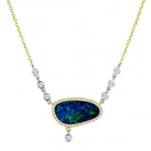 Meira T 14k Yellow Gold Opal and Diamond Necklace