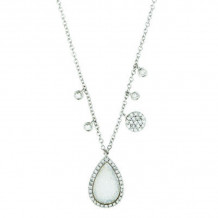 Meira T White Gold Diamond and Druzy Necklace
