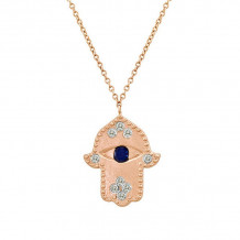 Meira T Rose Gold Sapphire and Diamond Necklace